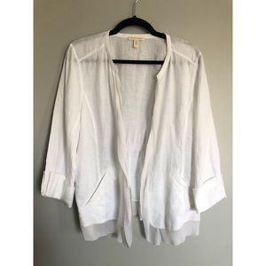 Eileen Fisher White Linen and Silk Cardigan
